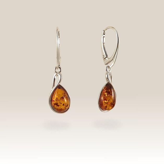 Geschenke für Frauen - Bernstein Ohrring | Geburtstagsgeschenk | 36x10mm - ein Designerstück von ZaNa-Design bei DaWanda