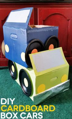 "DIY Drive-In DIY Cardboard Box Cars. Kids LOVE these and they are super fun to make. Have a memorable family night or party with a ""drive-in movie"" right at home when the kids get to sit in their cars and eat snacks while they watch their fave flick."
