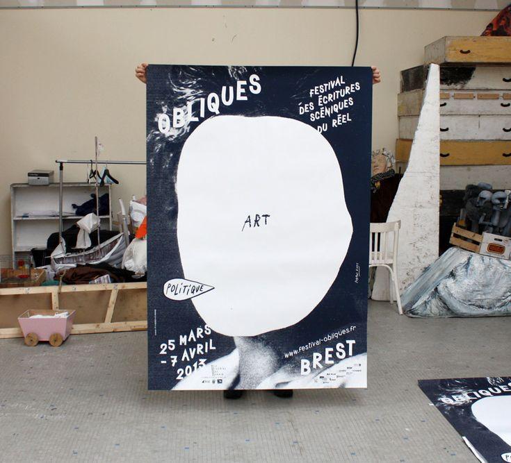 Formes Vives, affiche du festival Obliques, 120x176cm, sérigraphie 1 ton, imprimerie Lézard Graphique, 150 exemplaires, mars 2013