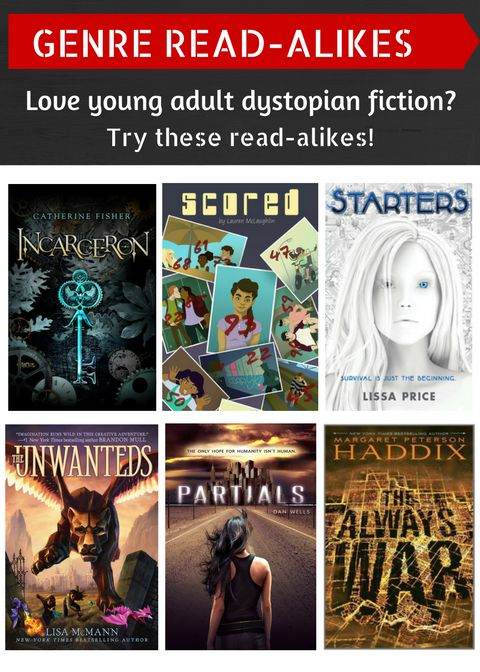 """Dystopian fiction, anyone? Here are some more great young adult reads: """"Incarceron"""" by Catherine Fisher, """"Scored"""" by Lauren McLaughlin, """"Starters"""" by Lissa Price, """"Unwanteds"""" by Lisa McMann, """"Partials"""" by Dan Wells, or """"The Always War"""" by Margaret Peterson Haddix. 5/22/15"""