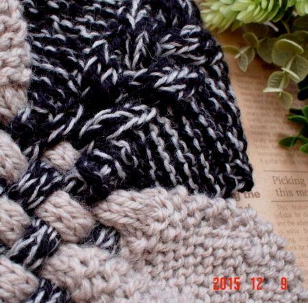 ☆彡グレー& ツイードのバイカラーのガーター編みと交差織り