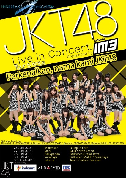 JKT48 Live In Concert Perkenalkan, nama kami JKT48 30 Juni 2013 At Ballroom Mall ITC Surabaya  http://eventsurabaya.net/jkt48-live-in-concert-perkenalkan-nama-kami-jkt48/