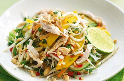 Thai salad with paw paw and chicken hero