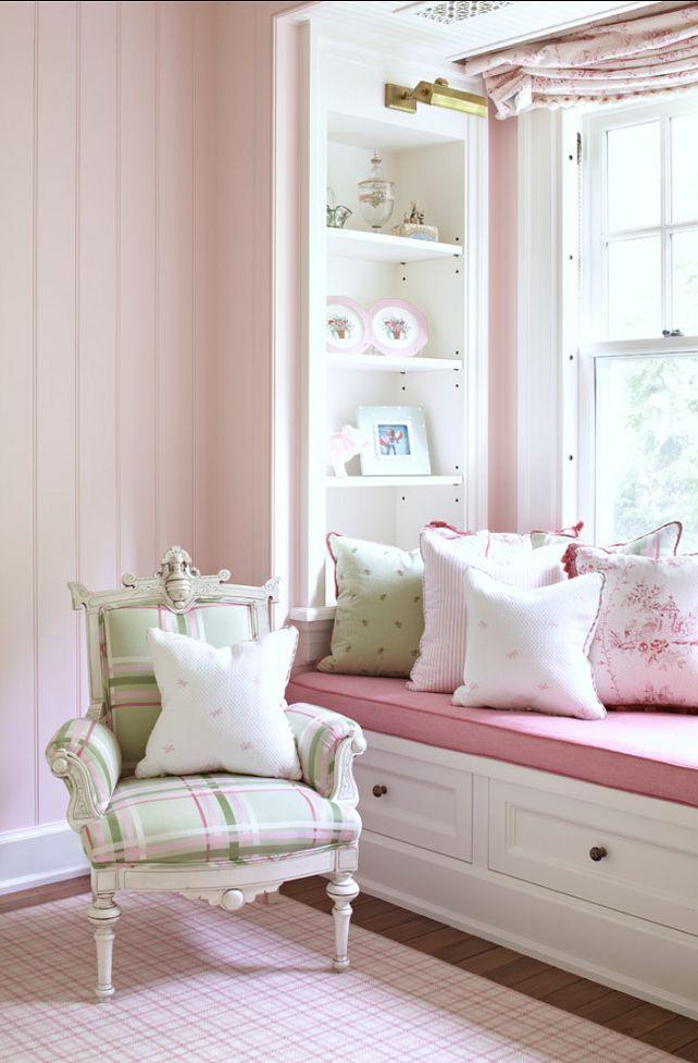 Girl's Bedroom Girl's Bedroom Girl's Bedroom. Light pink walls + pillows + chair fabric