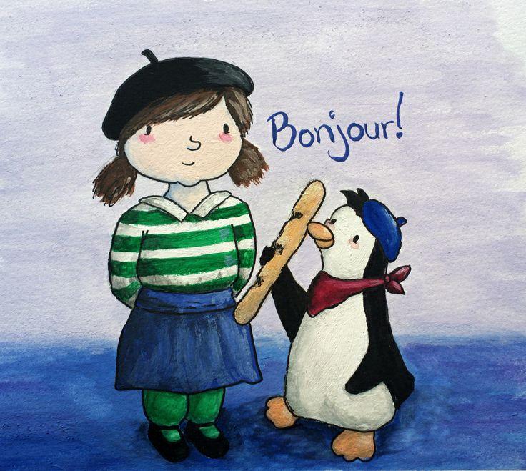 Bonjour! Illustration of french girl and penguin. Katja Zweiniger. hipphapphopp.com