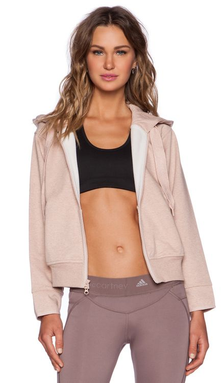 adidas by Stella McCartney Running Zip Hoodie in Band Aid Pink Melange