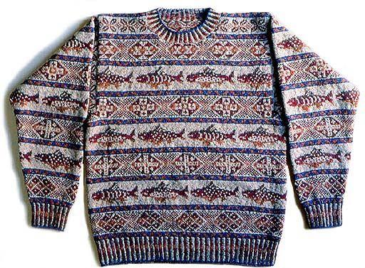 Stranded knitting, fish pullover sweater. Japanese designer.