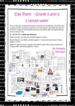 Bundled Lesson Plans for Grades 5 & 6 - 1 Whole Week