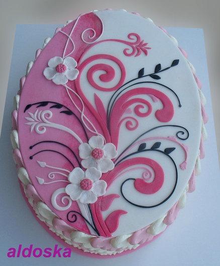 Pink/white ornament