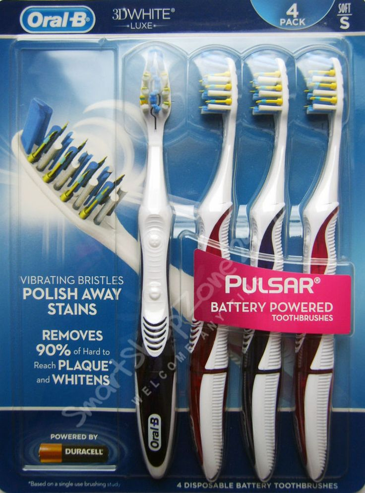 4 pack #Oral-B PULSAR 3D WHITE Battery Power Toothbrushes Vibrating Bristles SOFT $34.99