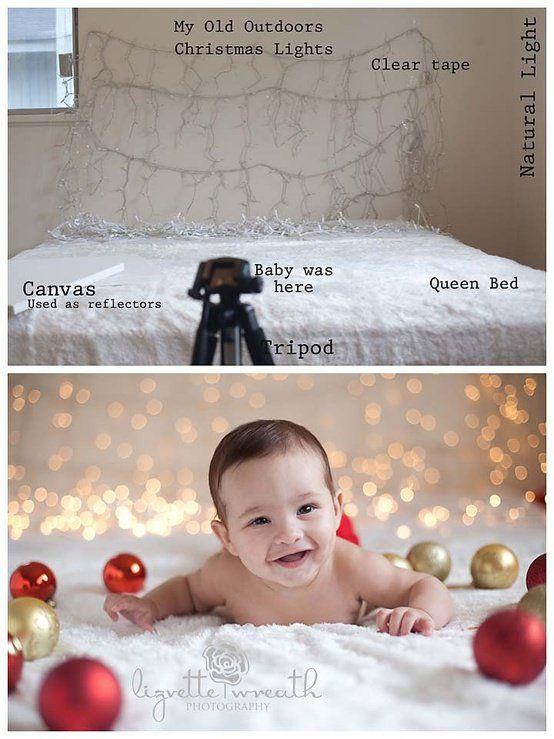 image of 4 month old girl christmas photography | ... .com/2012/08/22/diy-easy-christmas-lights-background-photography