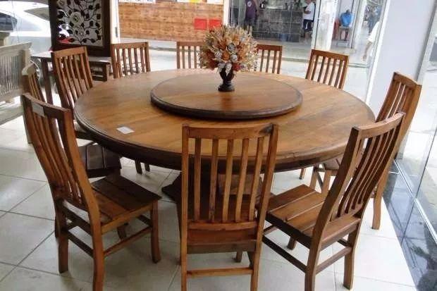 Mesa Redonda Giratória Madeira Maciça 1,40m + 6 Cadeiras - R$ 2.895,00 em Mercado Livre