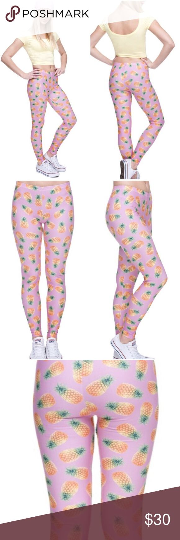 ⚡️SALE⚡️ 🍍Pretty Pink Pineapple Leggings 🍍 Adorable pink leggings with all over pineapple print. Super soft & extra stretchy poly/spandex blend makes these as comfy as they are cute. One size fits most. Bonus - With each purchase Twilight Gypsy Collective donates a portion of the proceeds to the American Heat + American Cancer Association 💕Promoting Positivity & Longevity💕 📷: Twilight Gypsy Co. Pants Leggings