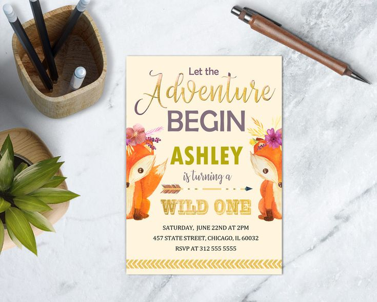 Woodland Wild One Birthday Invitation, Forest Theme Birthday Party, Fox Young Wild and One, Girl First Birthday Invite, DIGITAL FILE by TDApartyonpaper on Etsy