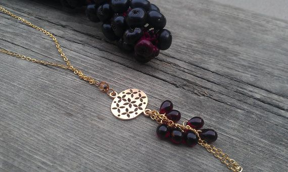 Noemi long gold dark red  beaded necklace by Planeteer on Etsy