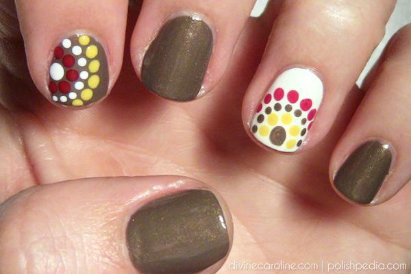 Fall-Colored Polka Dot Nail Art | Divine Caroline. Simple dots for a fun design.