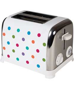 The KitchenOriginals Classic Bright Spot Toaster by Kalorik is hand printed with a contemporary polka dot design. Influenced by the traditional stylings of a vintage kitchen together with current trend and colour palettes, this toaster is presented in high quality stainless steel combined with a powerful 950W toasting capabilities.