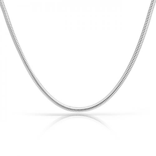 Sterling Silver Necklace Snake Chain 3mm Non Screw European Bead Compatible 16in 18in