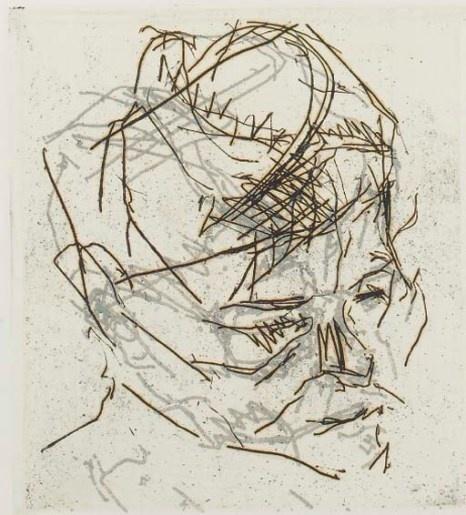 Frank Auerbach, R.B.Kitaj, etching, Dominic Guerrini