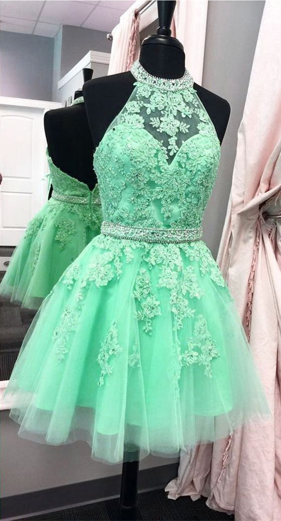 Mint Green Short Backless Prom Homecoming Dress Halter With Liques Beading