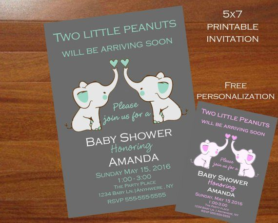 Elephant themed Twins Baby shower invitation,Twin elephant baby shower invitation, Trending baby sho