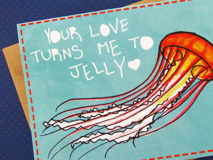 Jellyfish, Ocean Anniversary, Love Note for Boyfriend, Girlfriend, Fiance, Spouse, Partner, Blank Card with Envelope. $4.00, via Etsy.