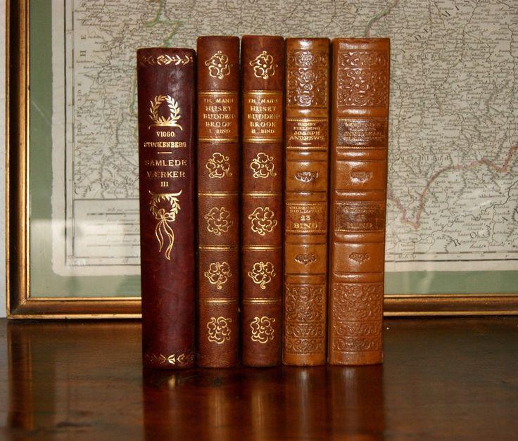 5 Fine Antique Leather Books Gold Decor Interior Designers Old Patina | eBay