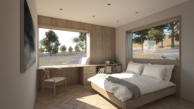 This is a visualisation of the master guest bedroom at our upcoming Passive House project in Allendale. The room has been designed to celebrate the unbroken landscape that encapsulates the single storey house. The rear of the building has been sunken into the hillside to help the building settle into the landscape. This has provided the opportunity for the ground level to meet the window sills, providing a strong immersive connection to the surrounding nature.