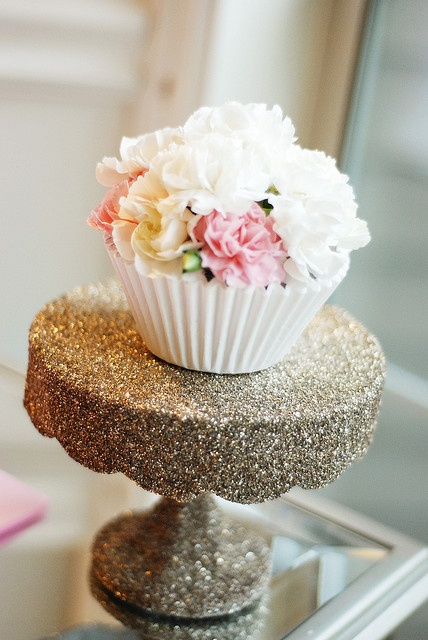 paint a cake stand with glitter.