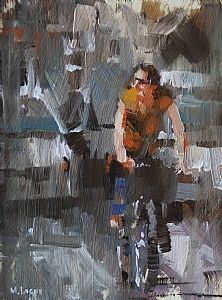Girl on Bike by Mark Lague Oil ~ 8 x 6