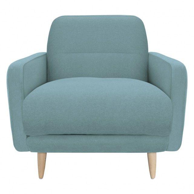 ABEL Teal blue fabric armchair