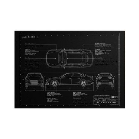 This edgy, dark, blueprint illustration of an Audi Sedan S4 B8 is laser engraved on an anodized aluminum sheet for a unique, auto-inspired piece that will show off your style on any wall.