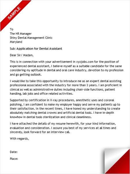Dental Assistant Cover Letter Cover Letter Sample Pinterest - resume dental assistant