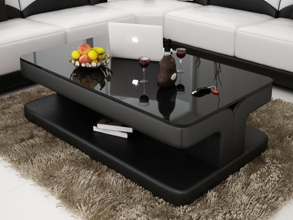 Contemporary Black Leather Coffee Table W Black Glass Table Top In 2021 Leather Coffee Table Coffee Table Design Modern Sofa Table Design