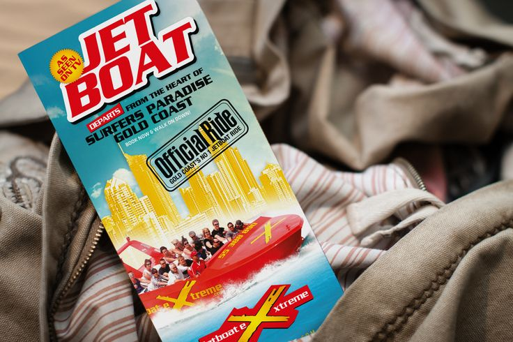 Gold Coast's Number 1 jet boat experience, Jetboat Extreme - brochure design (4 panel, gatefold), front cover view.