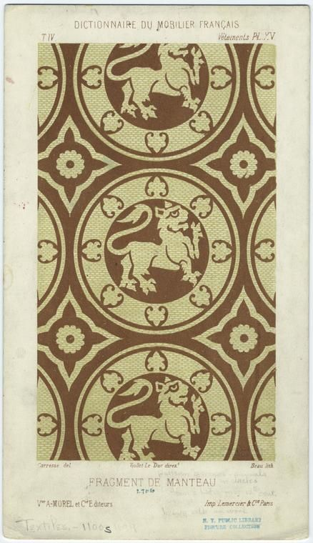 """Pattern 'a compas,' animals in circles, from a Latin [illegible] 12th cent., heavy silk or wool."""" http://www.instoria.it/home/decorazioni_tessili_preislamica.htm"""