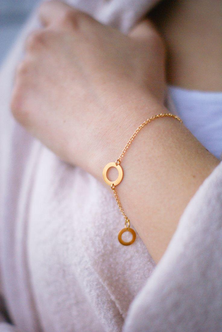 Bransoletka kółeczka - pozłacana, delikatna, wyjątkowa - minimalistyczna biżuteria Mocca Loca