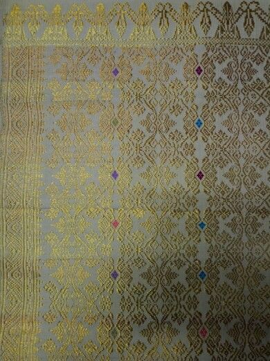 Songket bali full gold thread with white base cloth quite rare simply royal and glamour.