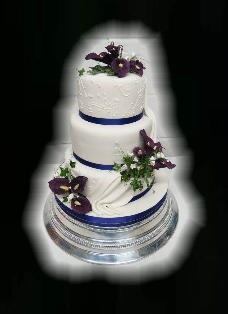 3 Tier Wedding Cake with Calla Lilies