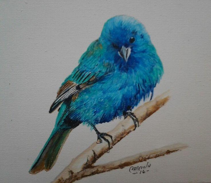Pajaro....azulejo..acrilico...Pintora ...Carmela Zuluaga