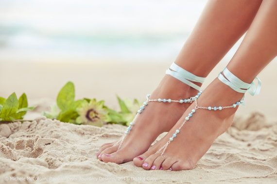 Barefoot Sandles, aqua wedding, blue bridesmaid foot jewelry, beaded beach jewelry, soleless sandals, beach shoes. GEORGIA Aqua