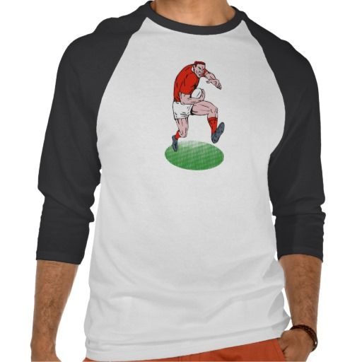 Rugby player running with ball t shirt. illustration of a rugby player running and charging with the ball isolated on white background. #illustration #Rugbyplayerrunningwithball #rwc #rwc2015 #rugbyworldcup