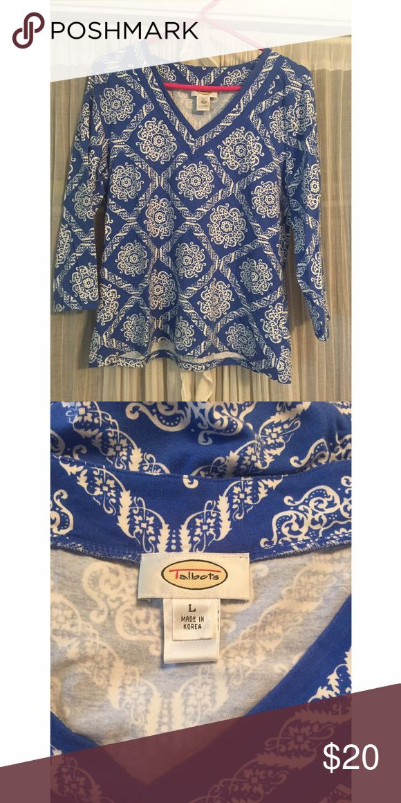 Talbots Blue and White Top Perfect for summer! Pair with white jeans for a fun and classic beachy look! This V cut, 3/4 length sleeve top is in great used condition. No stains. Talbots Tops Blouses
