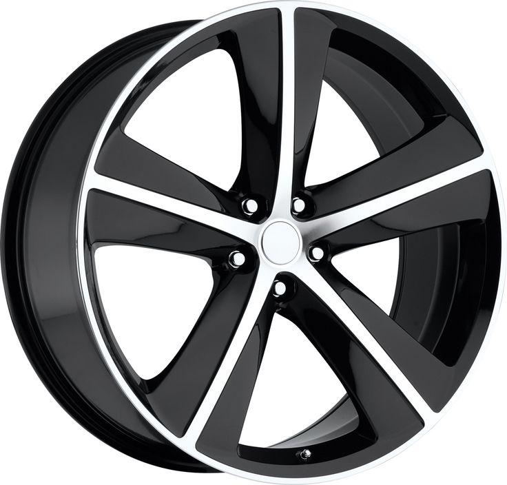 Dodge Challenger 2009-2011 20x9 5x115  20 - SRT8 Replica Wheel - Black Machine Face With Cap