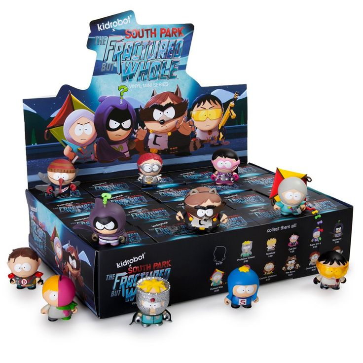South Park The Fractured But Whole : Case of 20 - From the creators of South Park, Trey Parker and Matt Stone, comes South Park : The Fractured But Whole video game, a sequel to 2014�s award winning game South Park : The Stick of Truth. In celebration of the release, Kidrobot brings you South Park : The Fractured But Whole Mini Series! Each mini figure comes packaged in a blind box style. Every box is a new surprise!