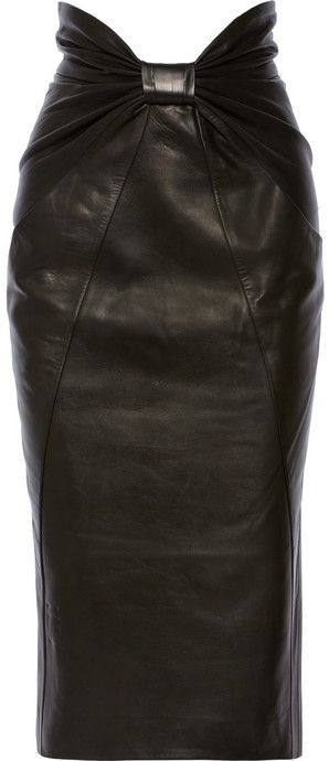 Balmain Ruched leather midi skirt