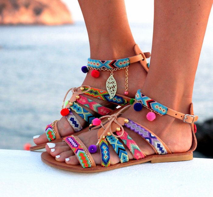 Boho sandals fashion trend: Friendship Bracelet gladiator sandals at Dimitras Workshop