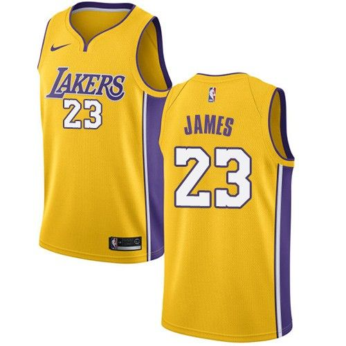 Nike Lakers 23 LeBron James Gold NBA Swingman Icon Edition Jersey ... da2b53452