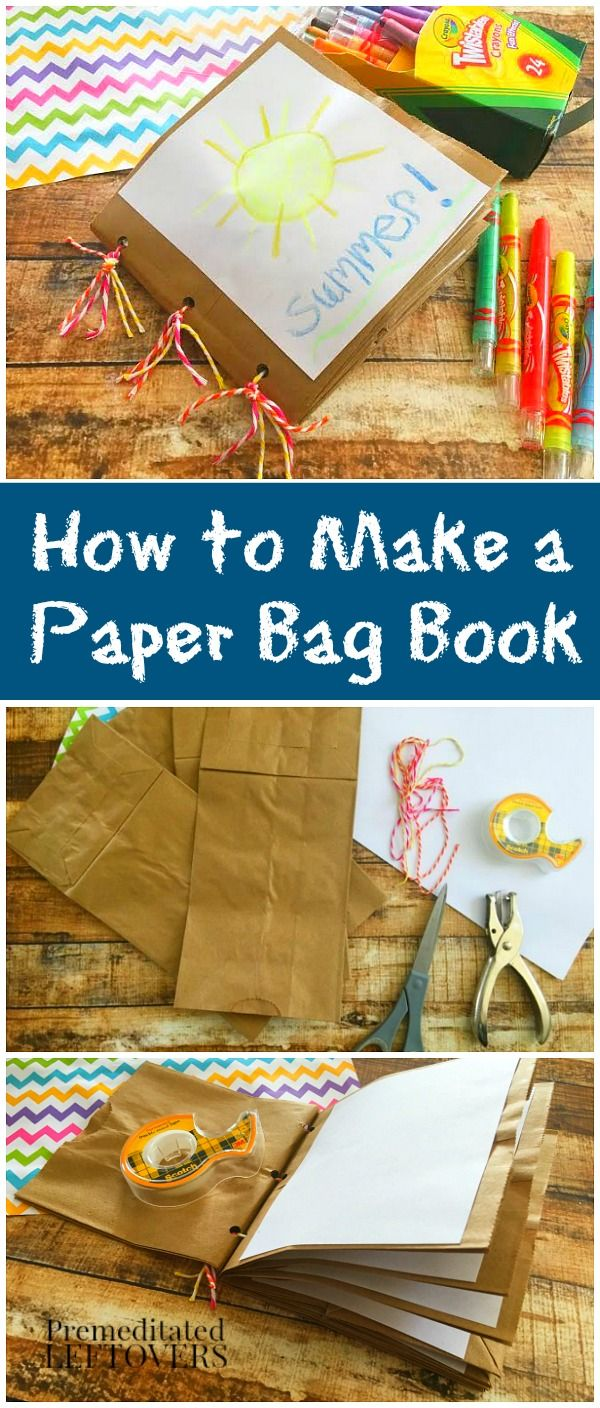 Make a fun little journal or scrapbook out of paper bags! http://premeditatedleftovers.com/naturally-frugal-mom/how-to-make-a-paper-bag-book/ #DIY #crafts