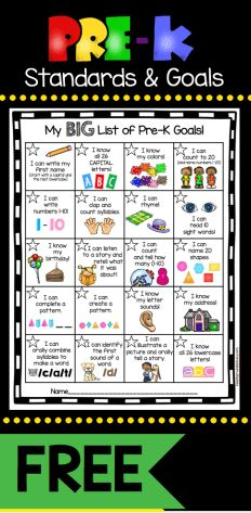 FREEBIE - Pre-K Goals Chart - great way to get students excited to master skills and reach their math and ELA goals - plus send home so parents know the standards - FREE